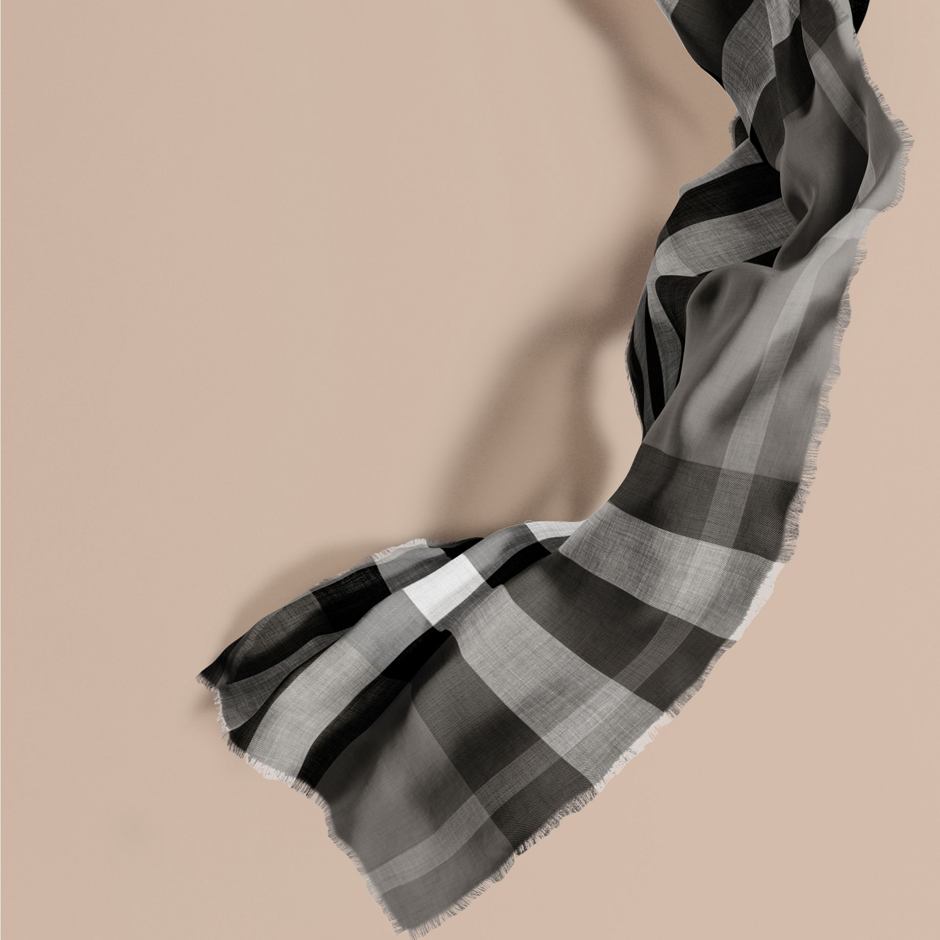 Mid grey The Lightweight Cashmere Scarf in Check Mid Grey - gallery image 1