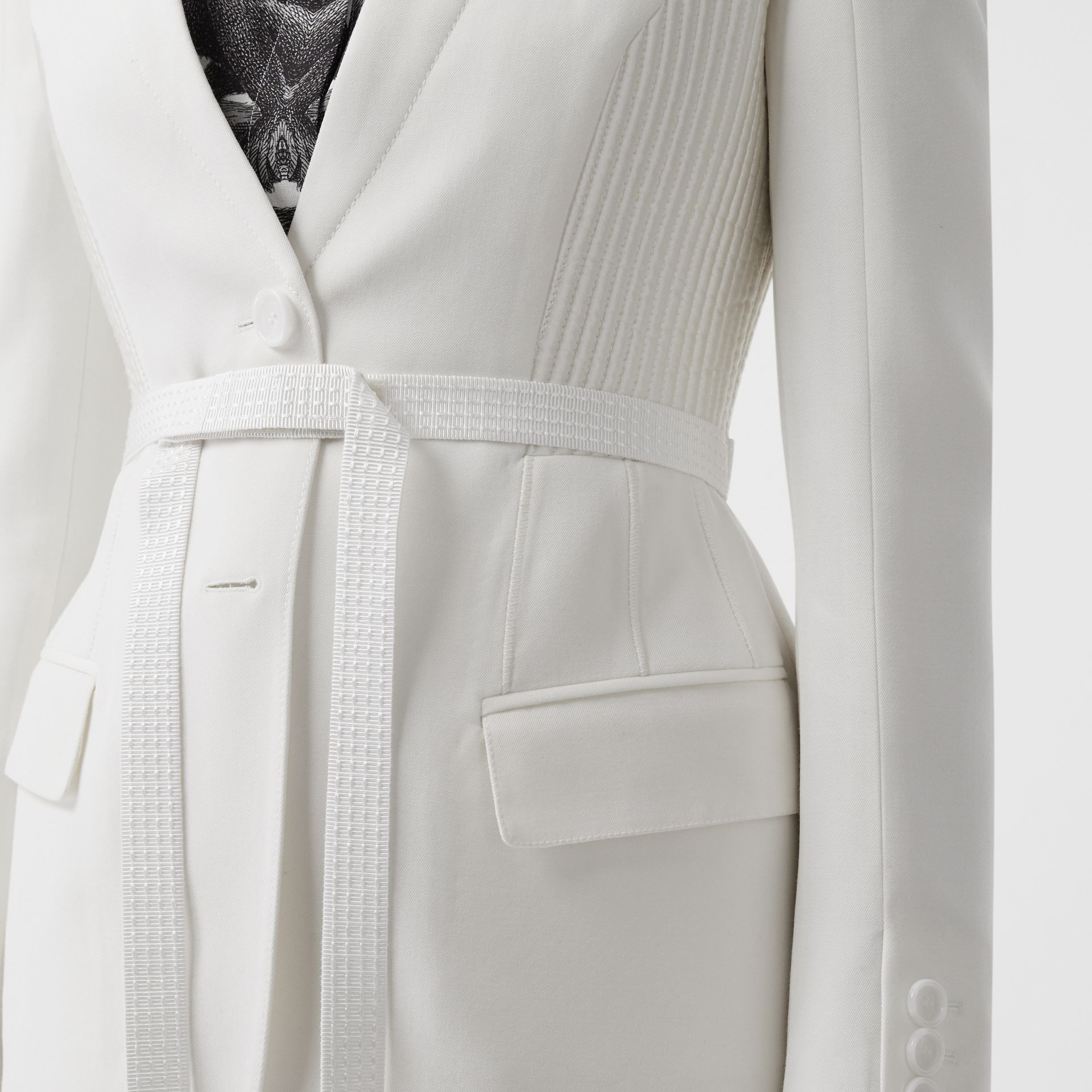 Wool Belted Blazer in Snow - Women | Burberry - gallery image 4