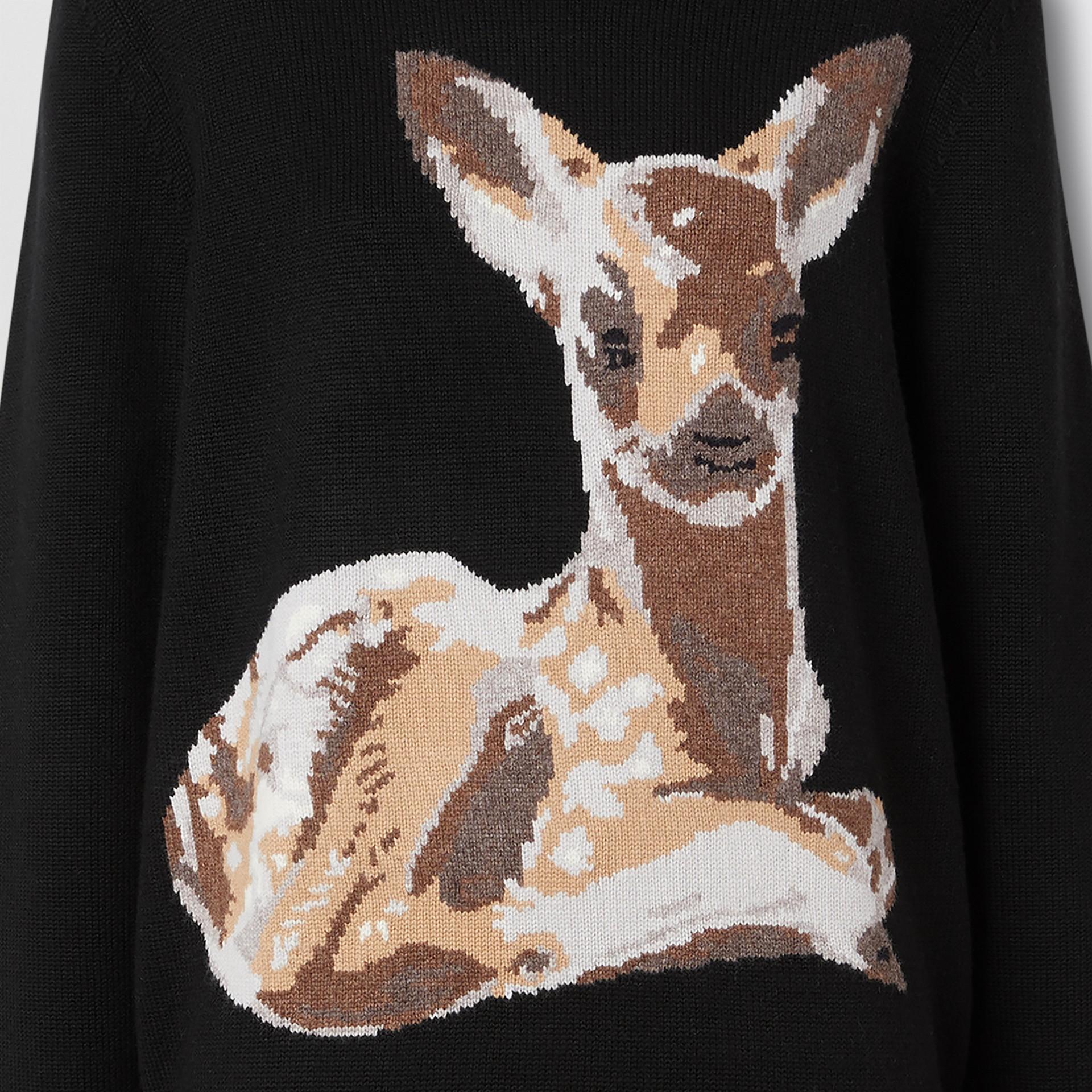 Deer Intarsia Wool Sweater in Black | Burberry - gallery image 5