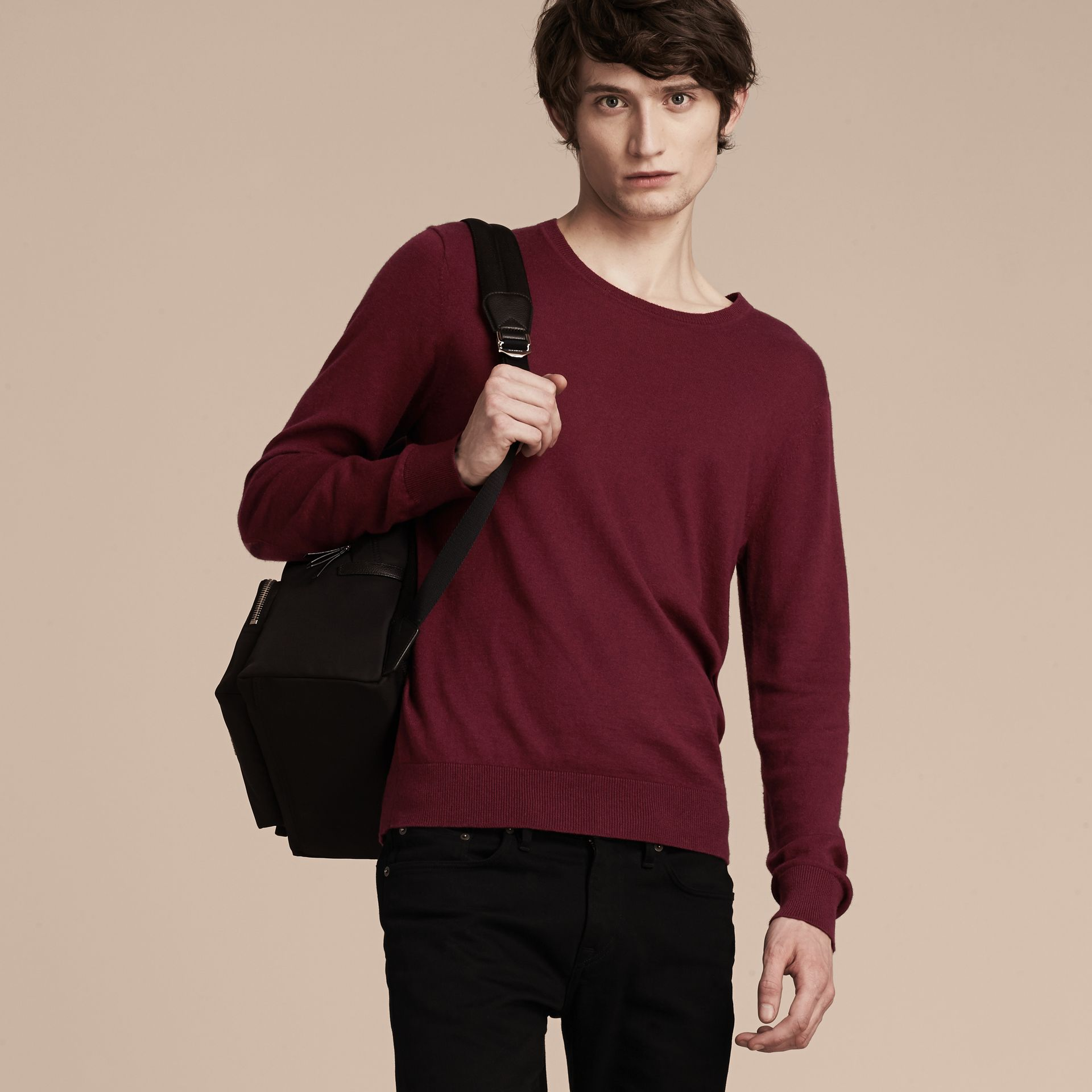 Check Trim Cashmere Cotton Sweater Claret - gallery image 6
