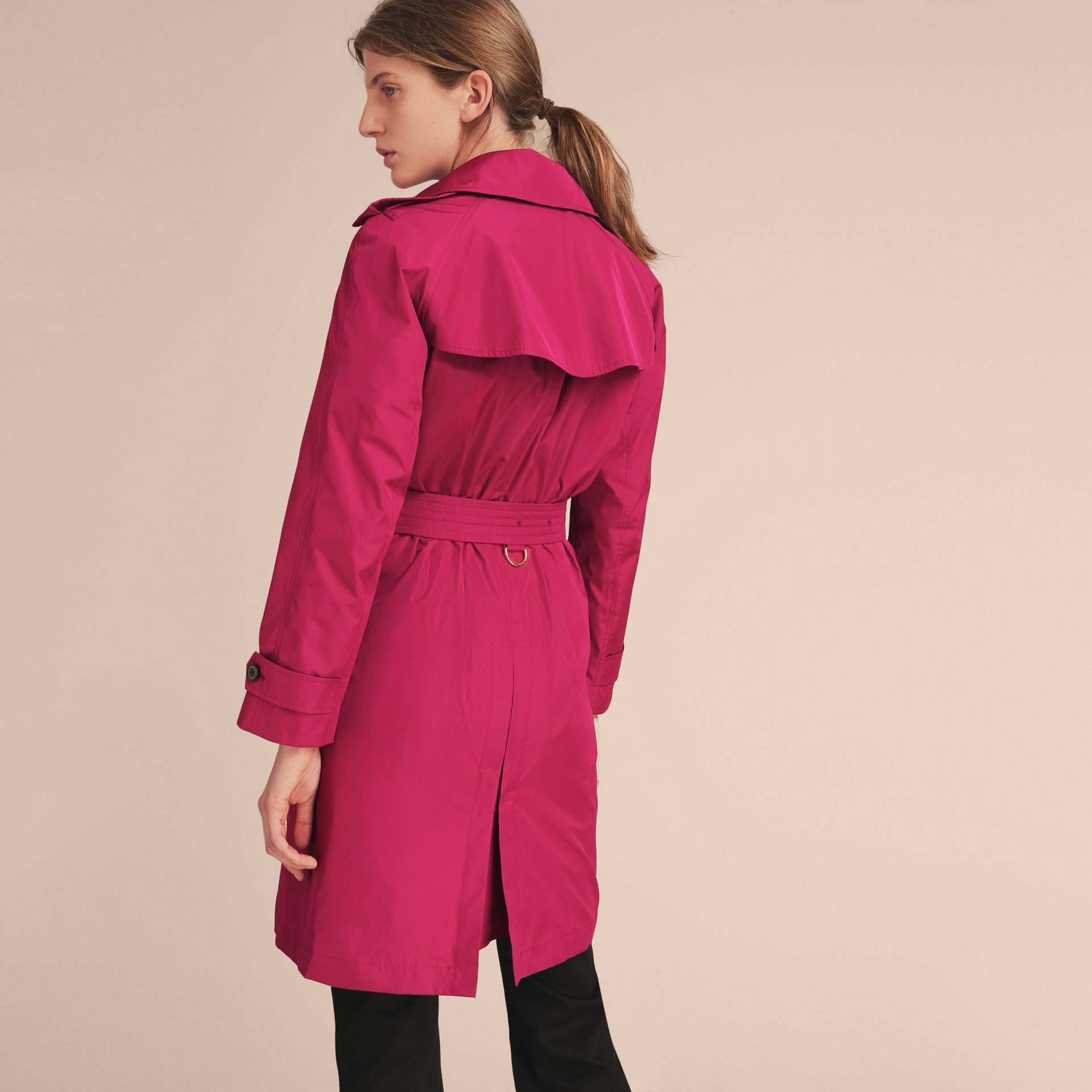 Single-breasted Technical Trench Coat Damson Magenta - gallery image 3