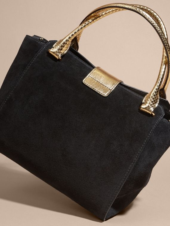 The Medium Buckle Tote in Suede and Snakeskin in Black/gold - Women | Burberry - cell image 3