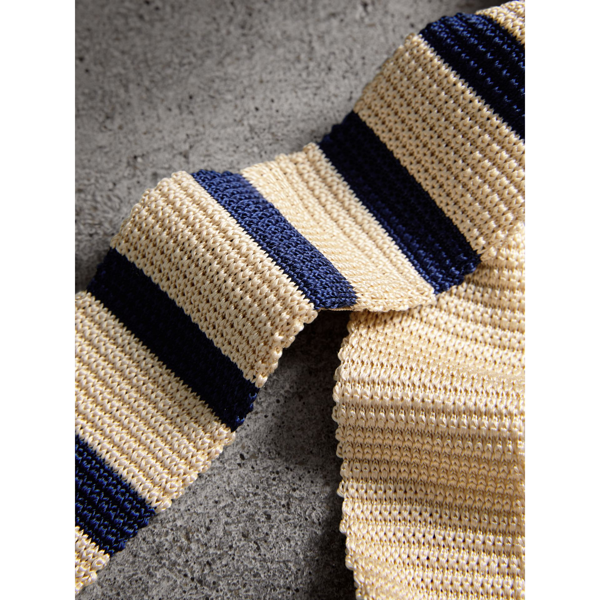 Slim Cut Two-tone Knitted Silk Tie in Limestone - Men | Burberry - gallery image 2