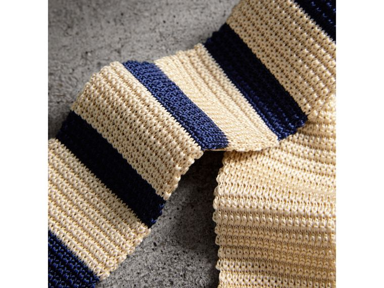 Slim Cut Two-tone Knitted Silk Tie in Limestone - Men | Burberry - cell image 1