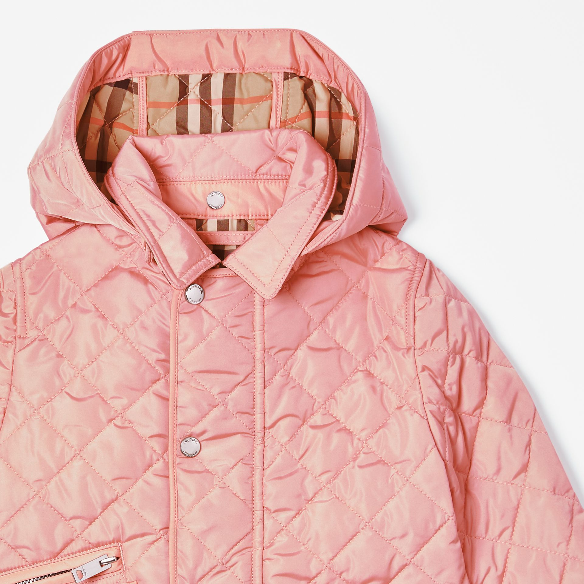 Detachable Hood Diamond Quilted Jacket in Dusty Pink - Children   Burberry - gallery image 4