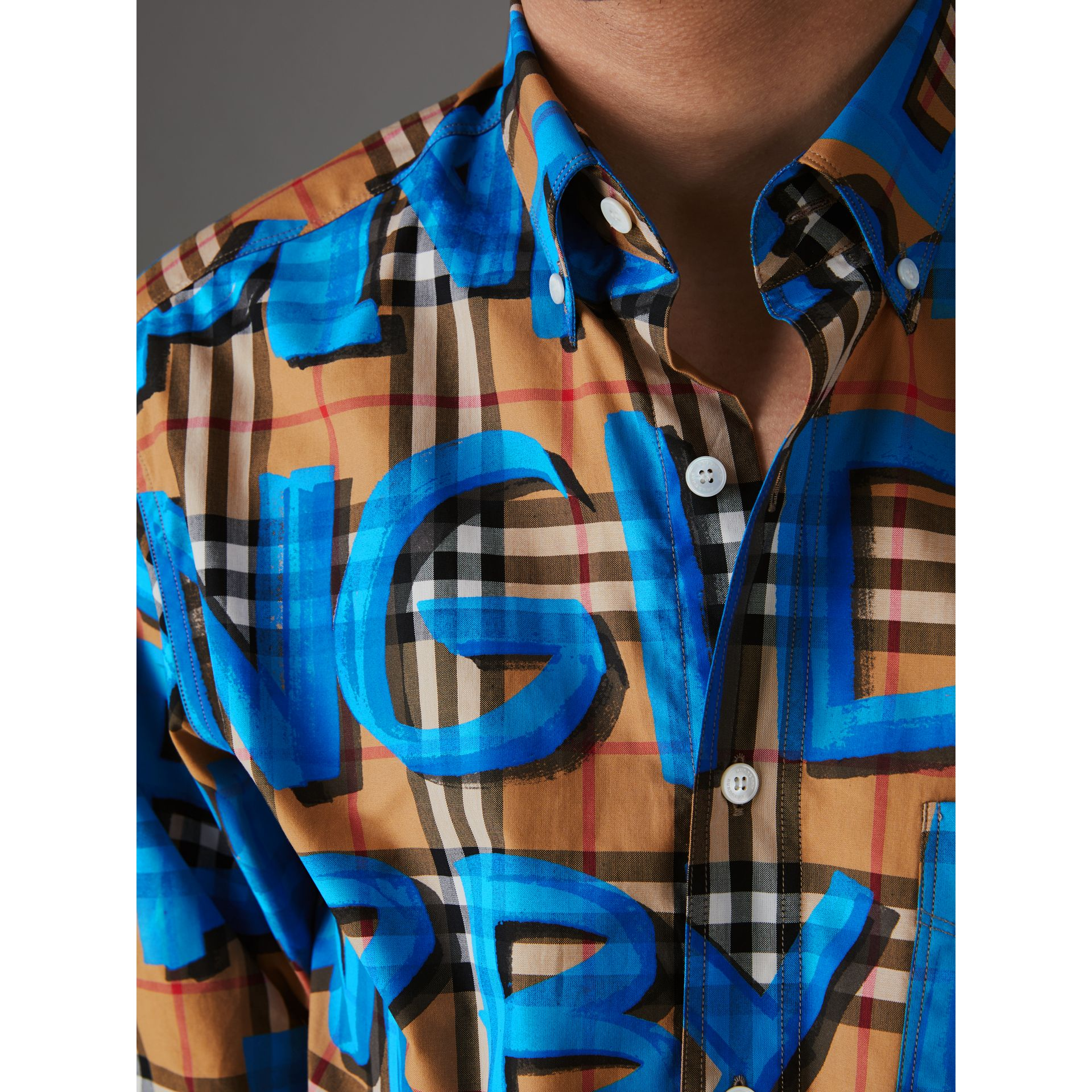 Graffiti Print Vintage Check Shirt in Bright Blue - Men | Burberry Singapore - gallery image 1