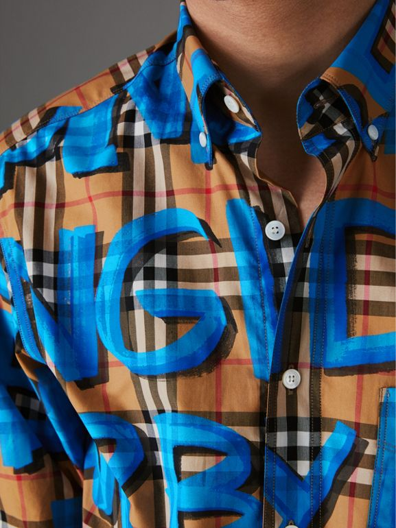 Graffiti Print Vintage Check Shirt in Bright Blue - Men | Burberry Singapore - cell image 1