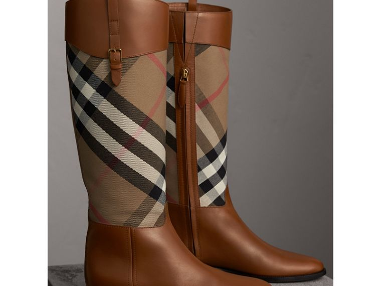 House Check and Leather Riding Boots in Chestnut - Women | Burberry Hong Kong - cell image 4
