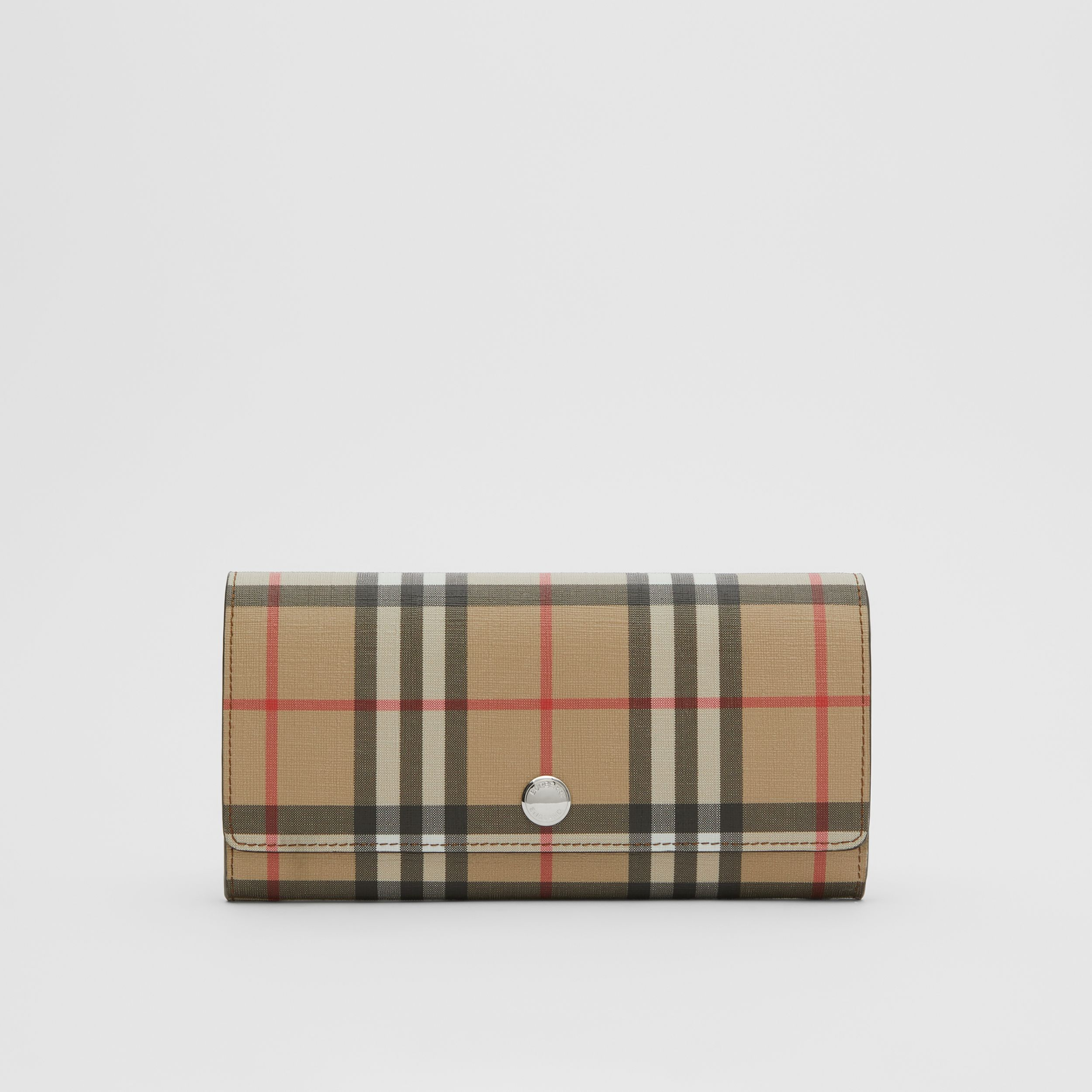 Vintage Check E-canvas Continental Wallet in Malt Brown - Women | Burberry United Kingdom - 1