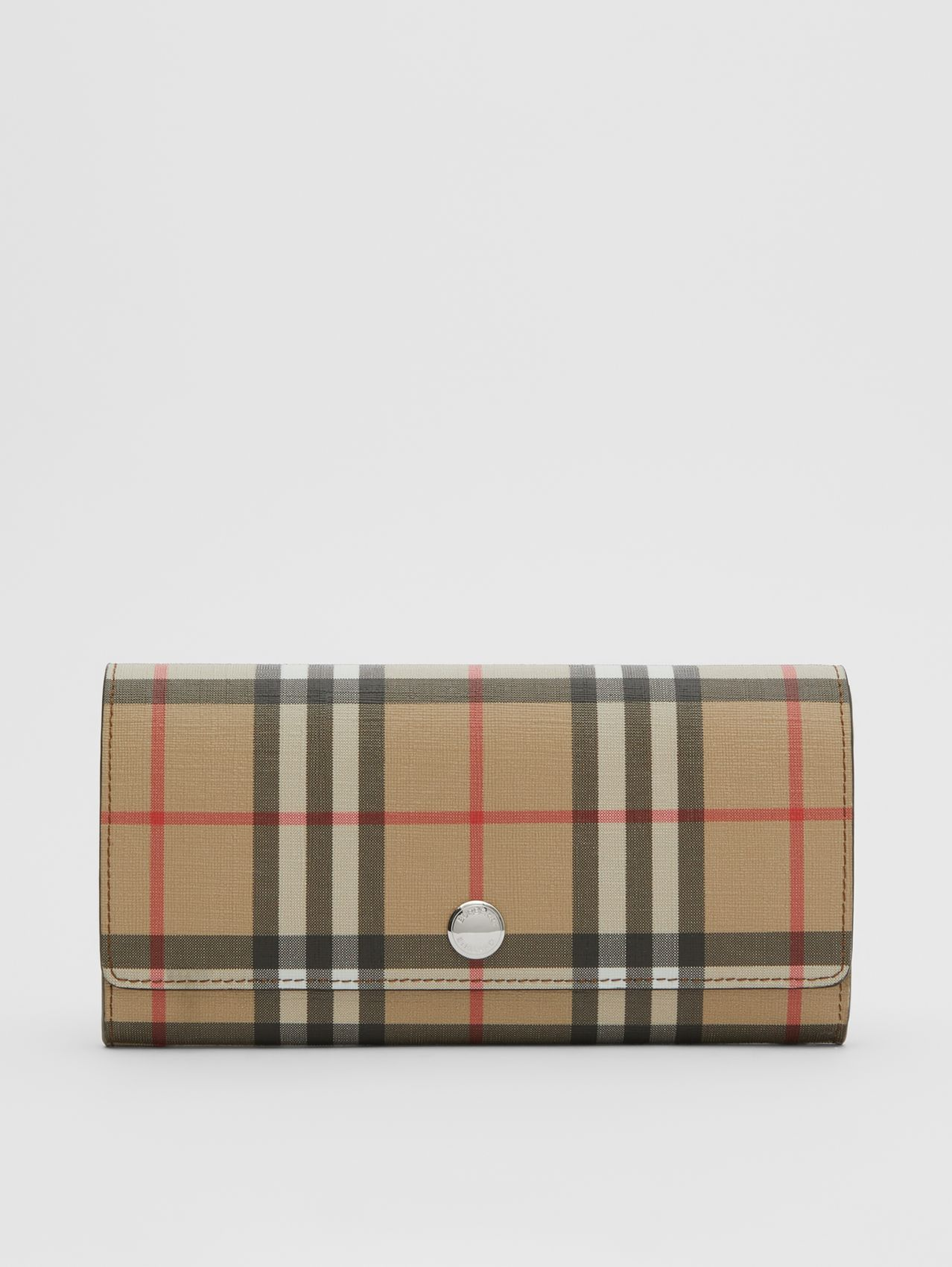 Vintage Check E-canvas Continental Wallet in Malt Brown