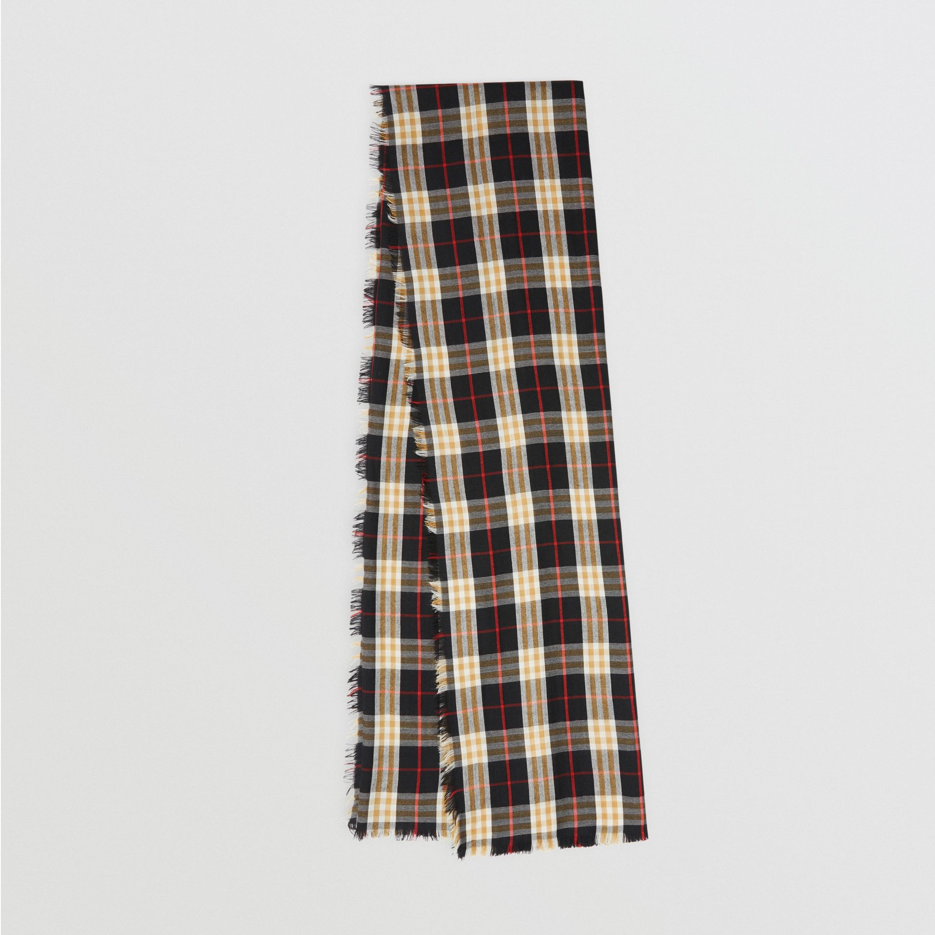 Vintage Check Lightweight Cashmere Scarf in Black | Burberry Singapore - gallery image 0