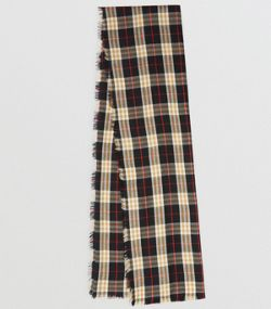 076ba5e7d01 Écharpe légère en cachemire à motif Vintage check (Noir)