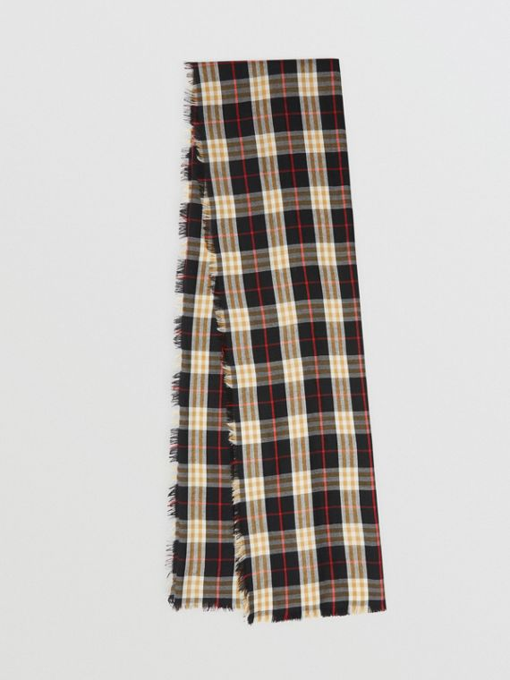 Vintage Check Lightweight Cashmere Scarf in Black