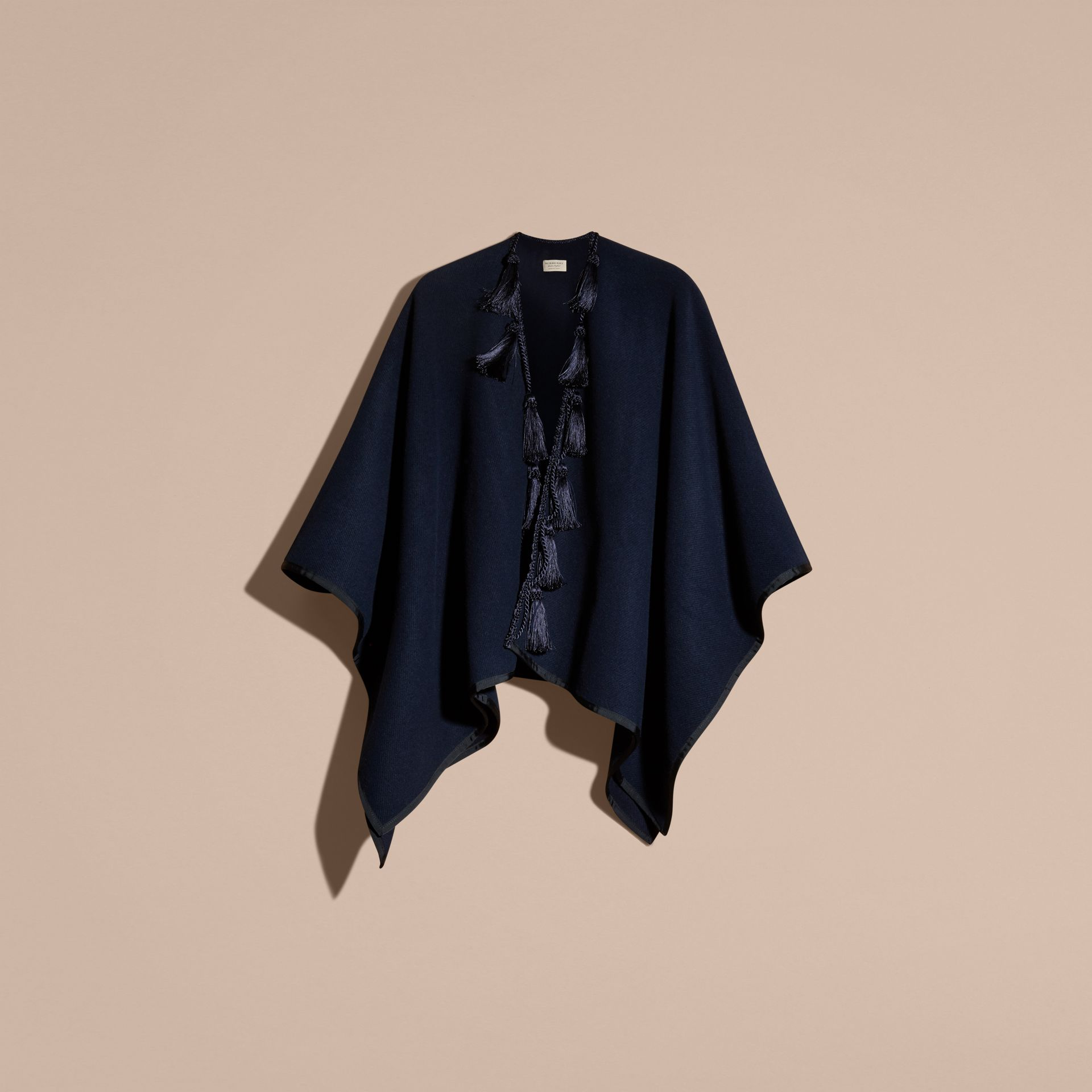Navy Wool Cashmere Poncho with Tassels - gallery image 4