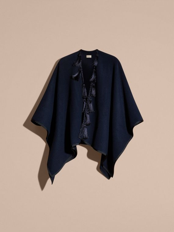 Navy Wool Cashmere Poncho with Tassels - cell image 3