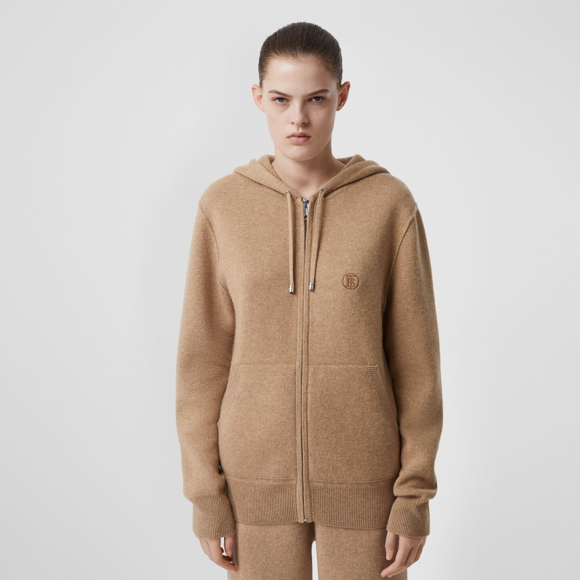 Monogram Motif Cashmere Blend Hooded Top in Pale Coffee - Women | Burberry United Kingdom - gallery image 1