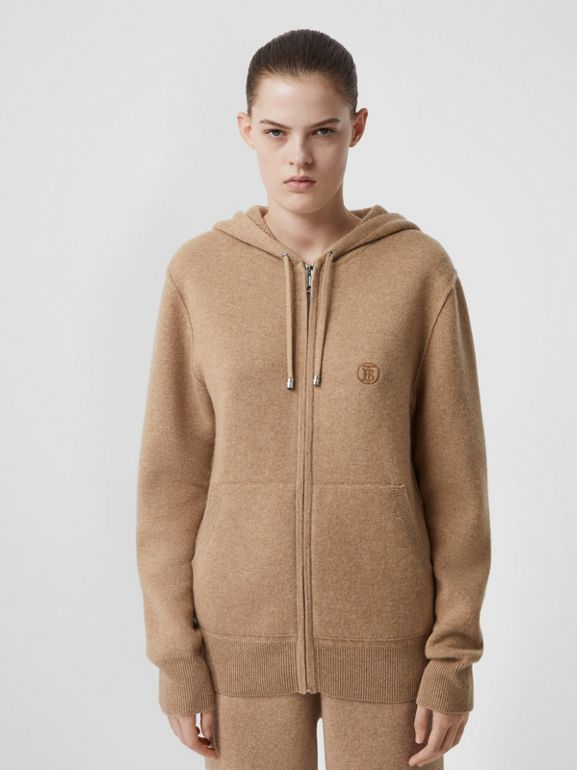 Monogram Motif Cashmere Blend Hooded Top in Pale Coffee - Women | Burberry United Kingdom - cell image 1