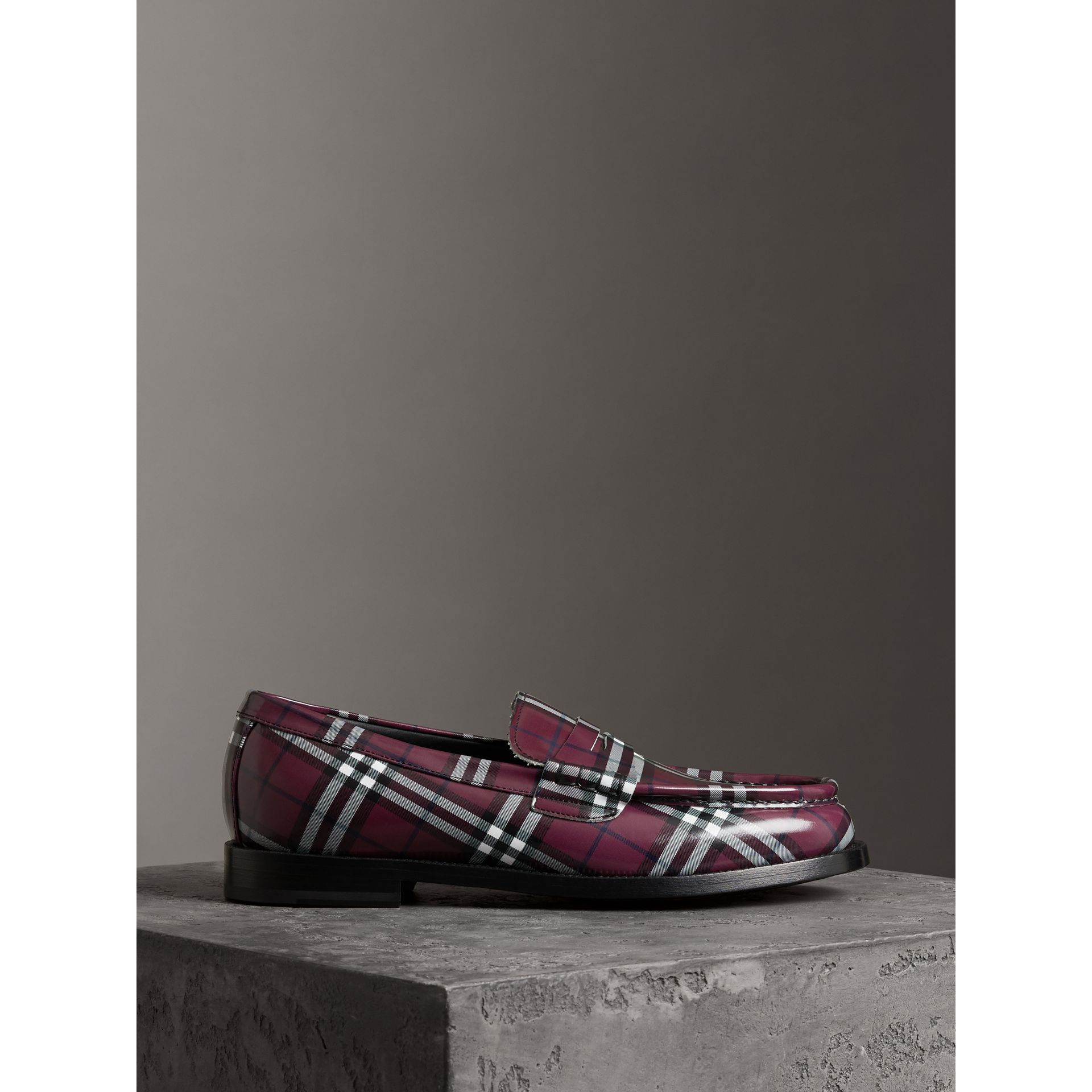 Gosha x Burberry Check Leather Loafers in Claret - Men | Burberry Singapore - gallery image 4