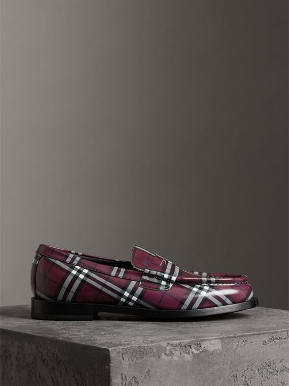 Gosha x Burberry Check Leather Loafers in Claret