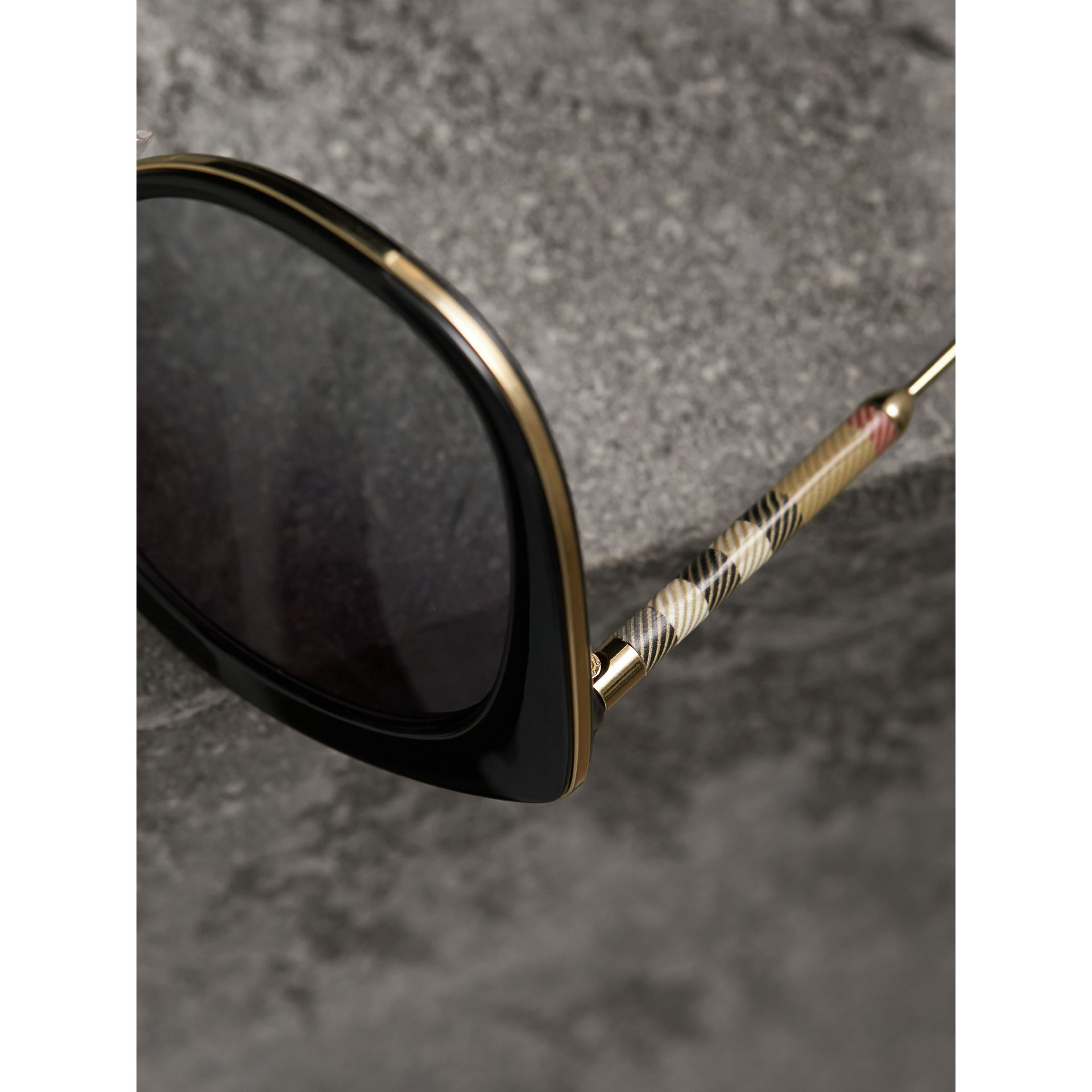 Check Detail Round Frame Sunglasses in Black - Women | Burberry Canada - gallery image 1
