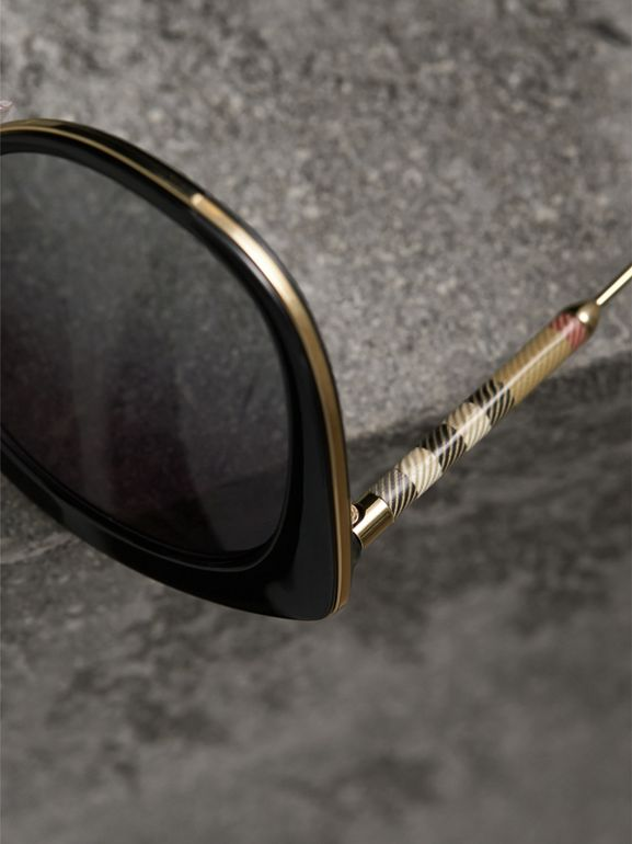 Check Detail Round Frame Sunglasses in Black - Women | Burberry United Kingdom - cell image 1