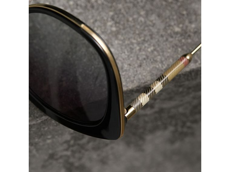 Check Detail Round Frame Sunglasses in Black - Women | Burberry Canada - cell image 1