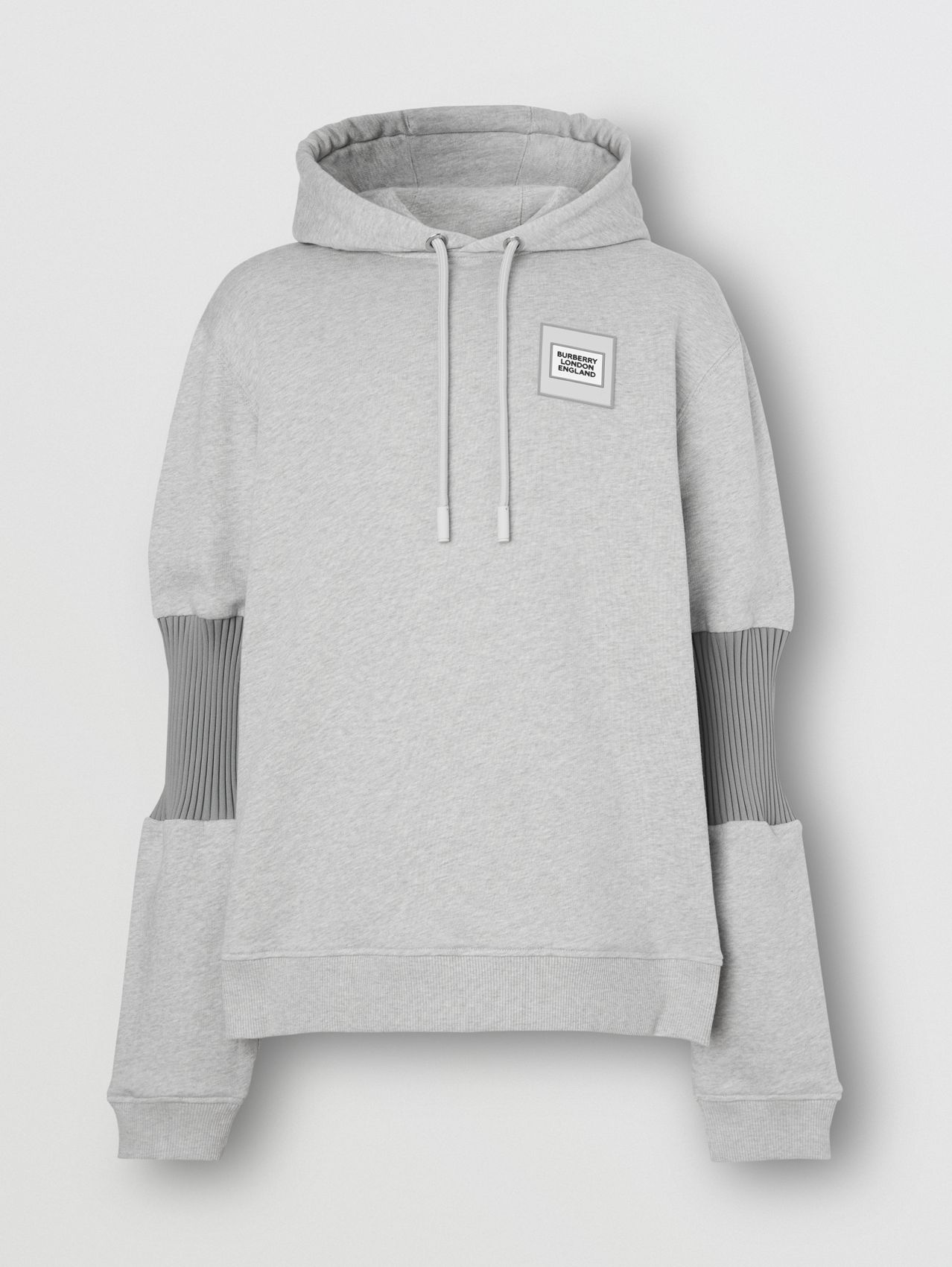Panelled-sleeve Cotton Hoodie in Grey Melange