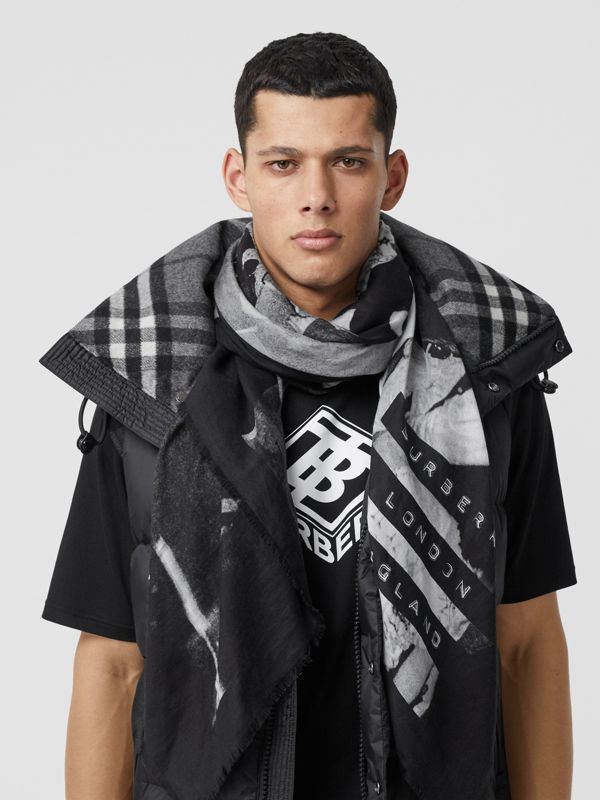 Rave Print Cotton Silk Large Square Scarf in Black | Burberry - cell image 3