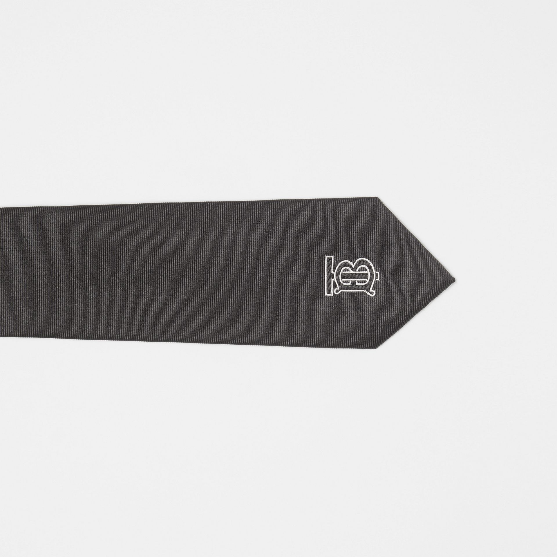 Slim Cut Monogram Motif Silk Twill Tie in Black - Men | Burberry United States - gallery image 1