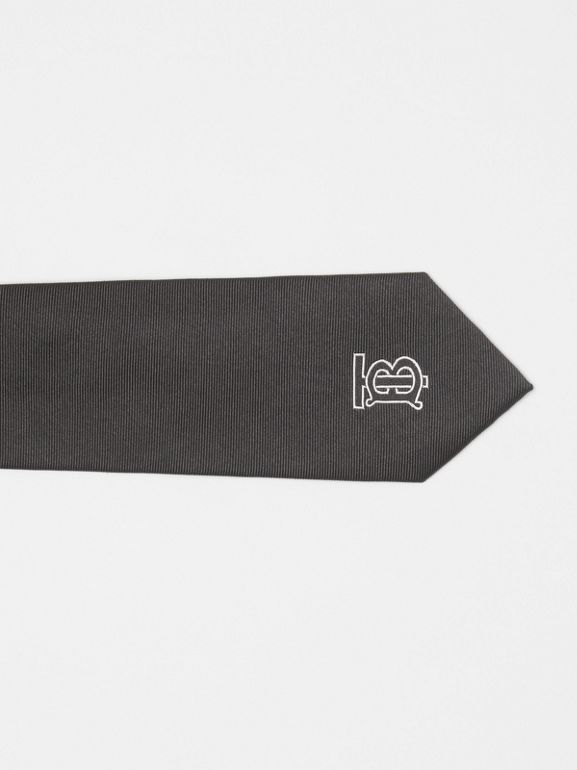 Slim Cut Monogram Motif Silk Twill Tie in Black - Men | Burberry - cell image 1