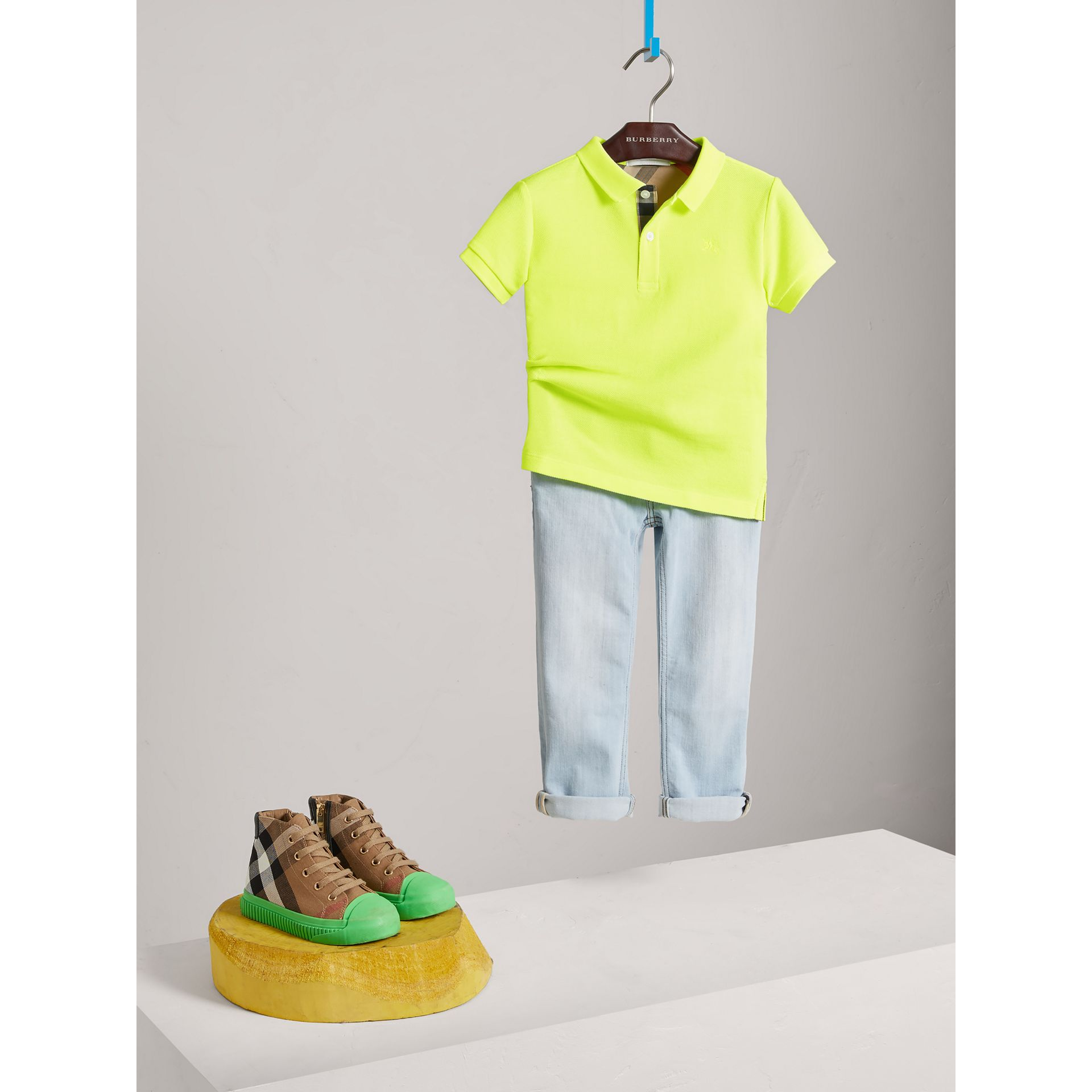 Check Placket Polo Shirt in Neon Yellow - Boy | Burberry - gallery image 2