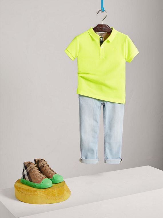 Check Placket Polo Shirt in Neon Yellow - Boy | Burberry - cell image 2