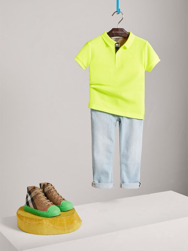 Check Placket Polo Shirt in Neon Yellow | Burberry - cell image 2