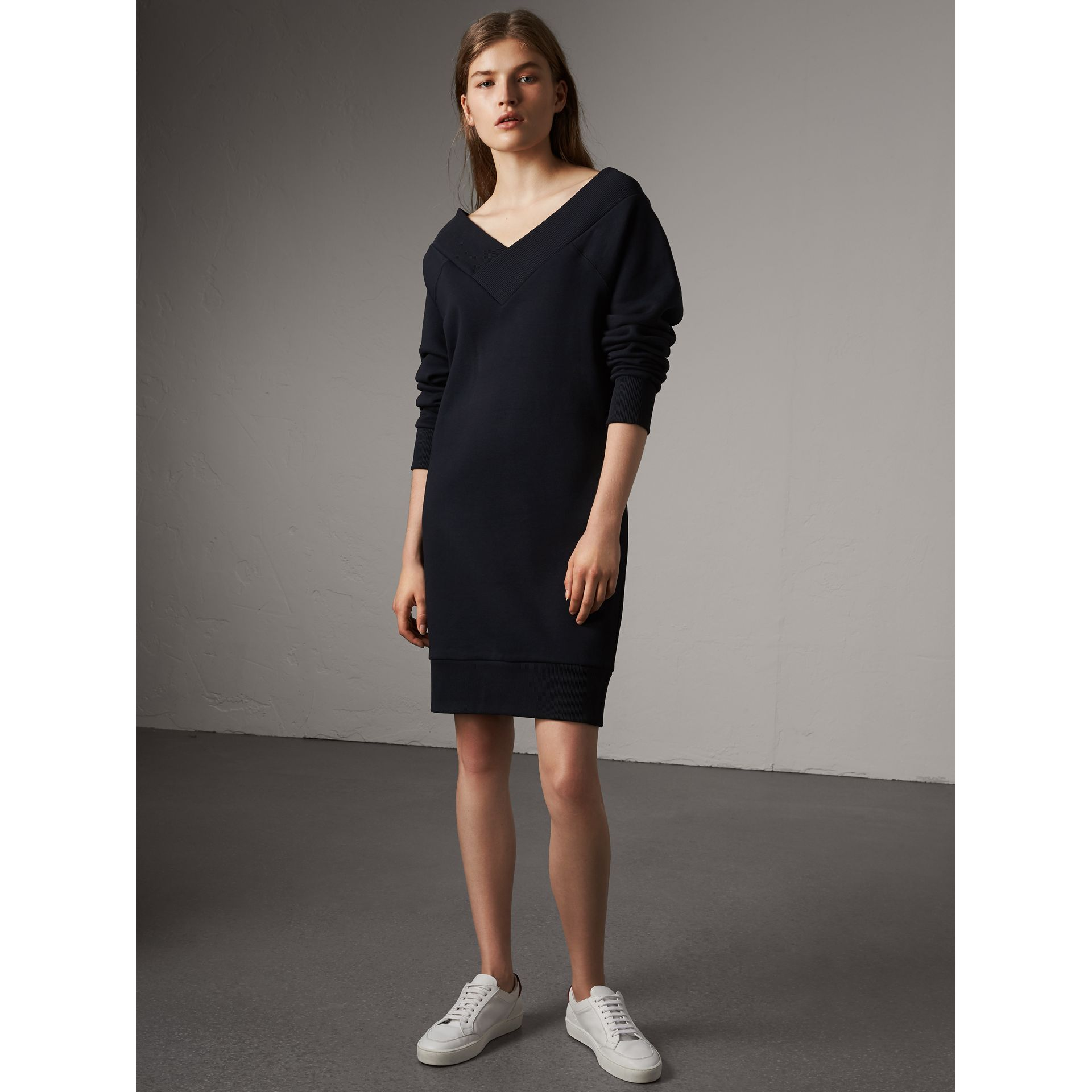 Cotton Blend V-neck Sweater Dress in Navy - Women | Burberry - gallery image 5