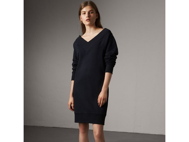 Cotton Blend V-neck Sweater Dress in Navy - Women | Burberry - cell image 4