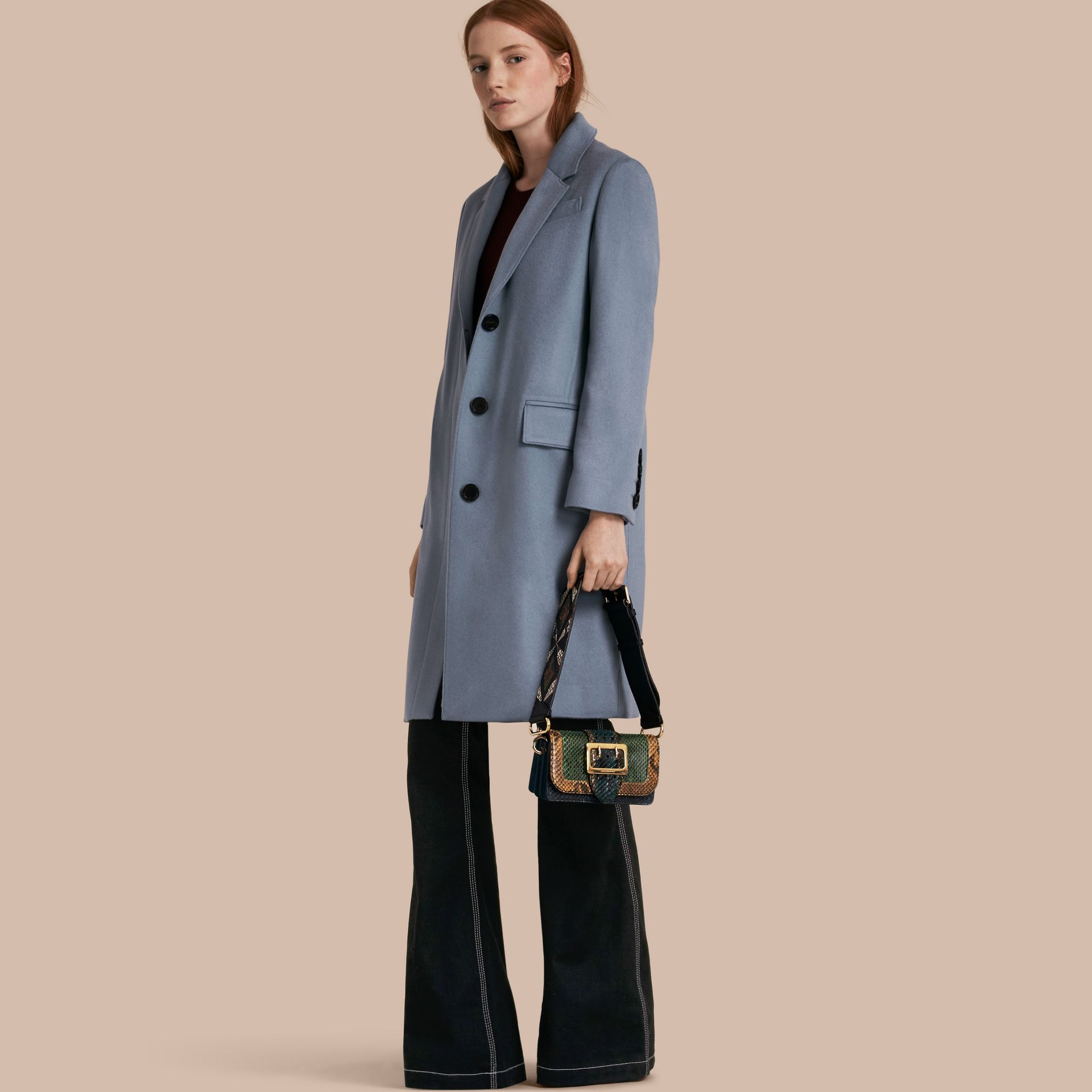 Pale blue Cashmere Tailored Coat - gallery image 1