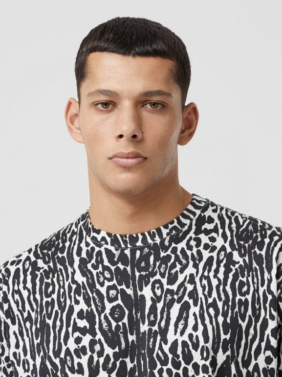 Leopard Print Cotton Oversized T-shirt in Black - Men | Burberry - cell image 1