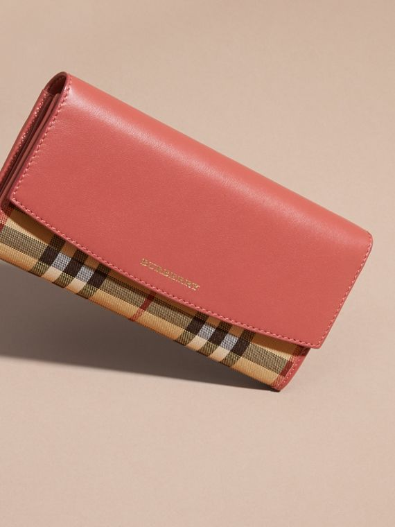 Horseferry Check and Leather Continental Wallet Antique Rose - cell image 2
