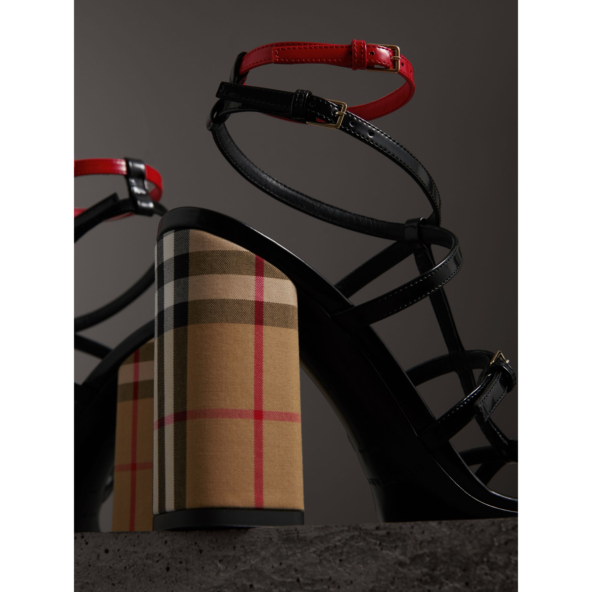 Vintage Check and Patent Leather Sandals in Black - Women | Burberry - gallery image 1