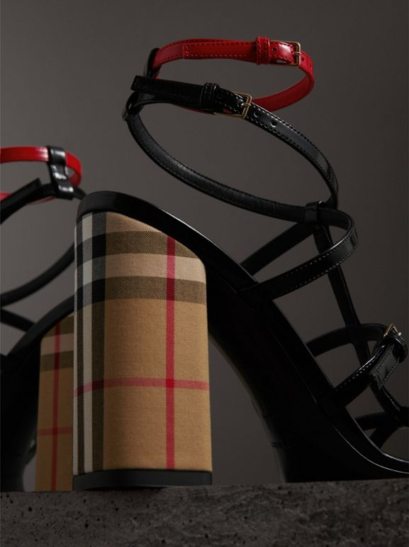 Vintage Check and Patent Leather Sandals in Black - Women | Burberry United Kingdom - cell image 1