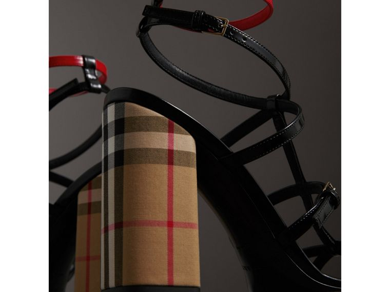 Vintage Check and Patent Leather Sandals in Black - Women | Burberry Singapore - cell image 1