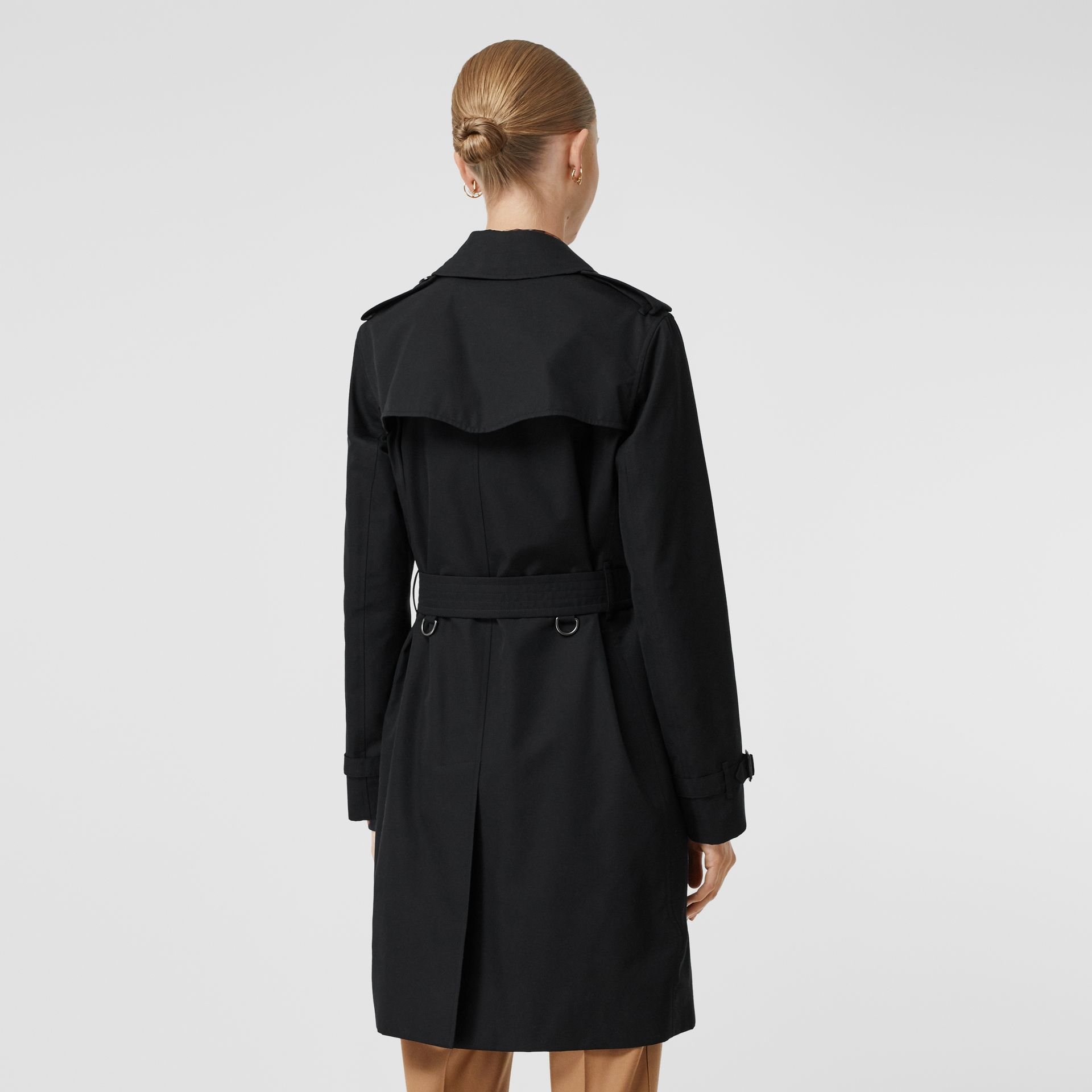 Kensington Fit Cotton Gabardine Trench Coat in Black - Women | Burberry - gallery image 2