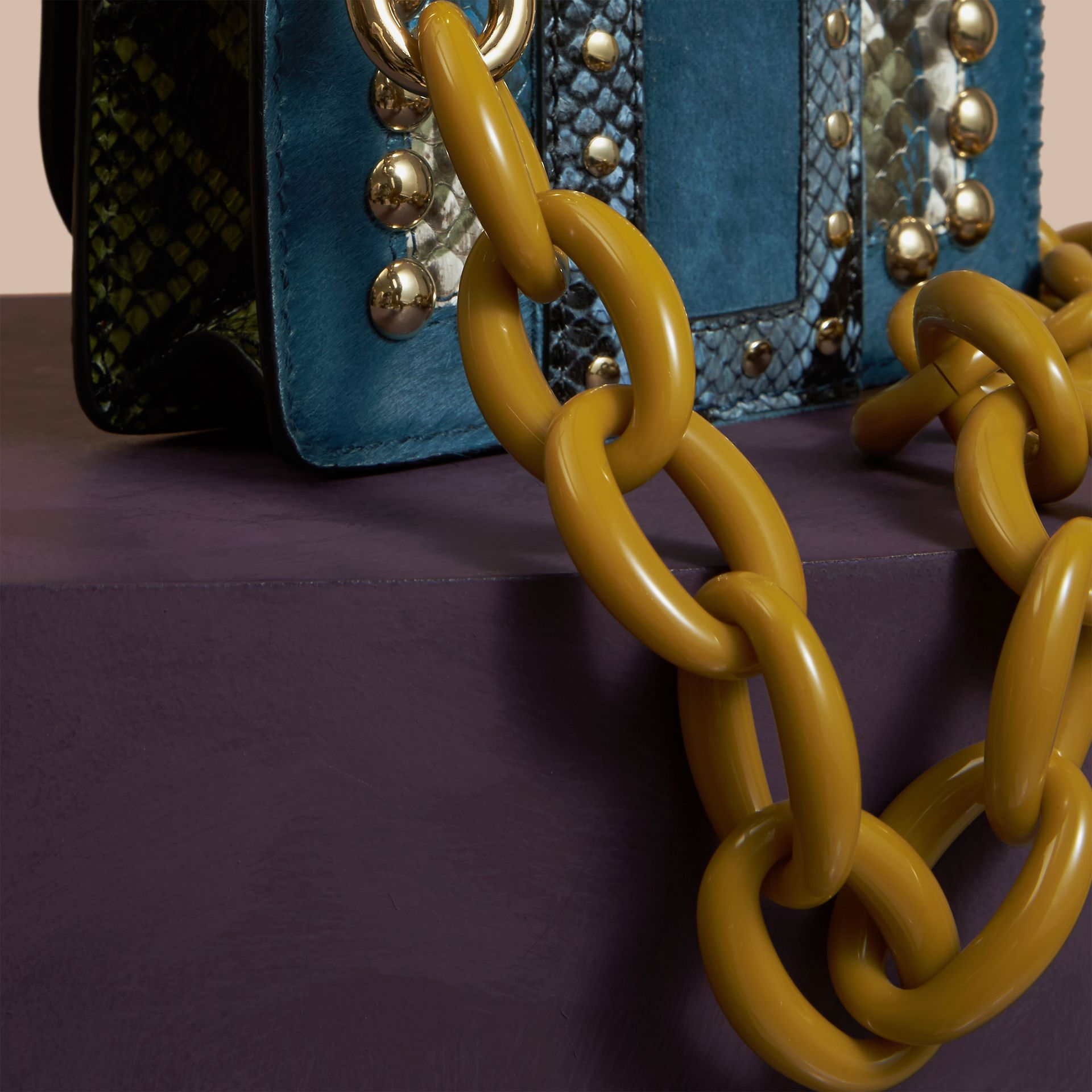 The Mini Square Buckle Bag in Calfskin, Snakeskin and Velvet in Pale Opal - gallery image 5