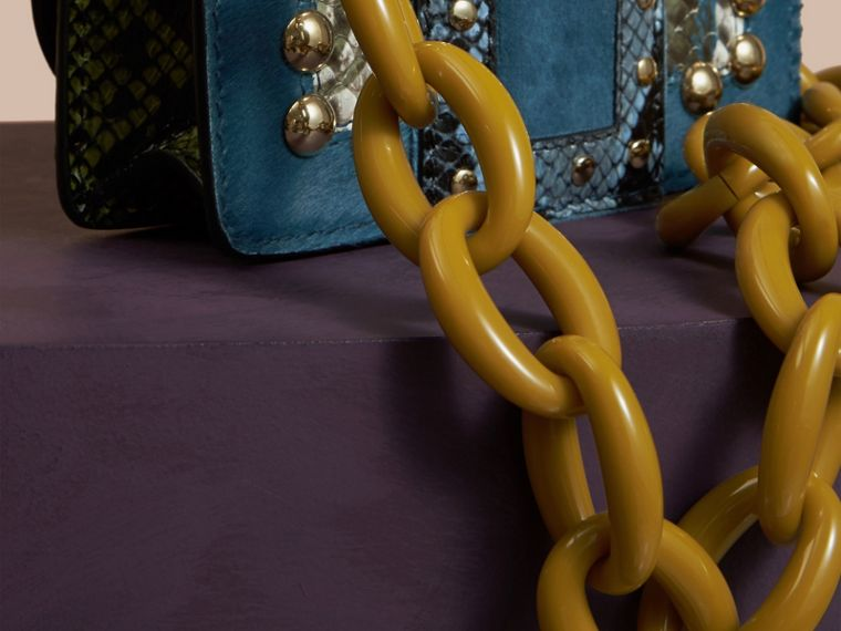 The Mini Square Buckle Bag in Calfskin, Snakeskin and Velvet in Pale Opal - cell image 4
