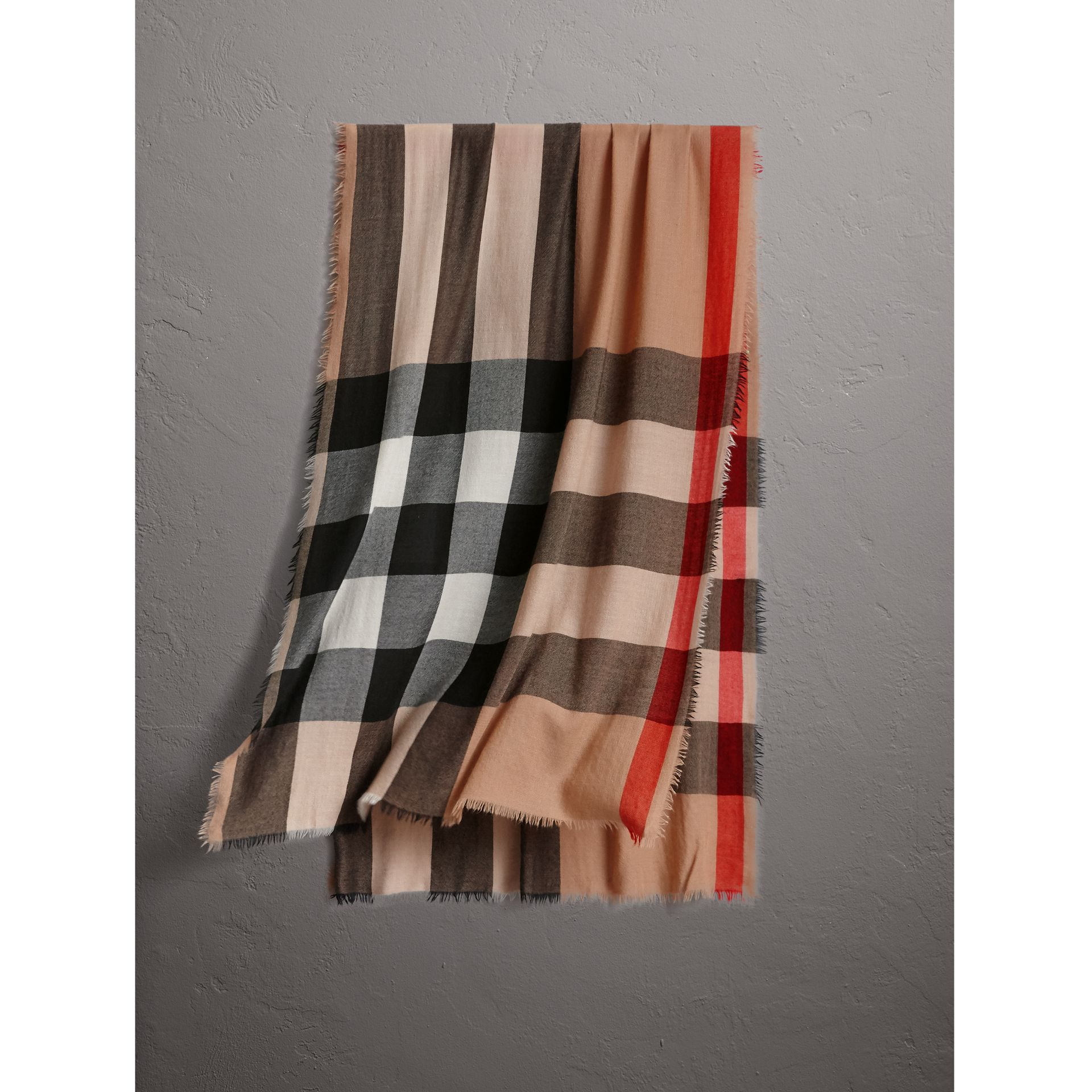 Lightweight Check Cashmere Scarf in Camel | Burberry United Kingdom - gallery image 0