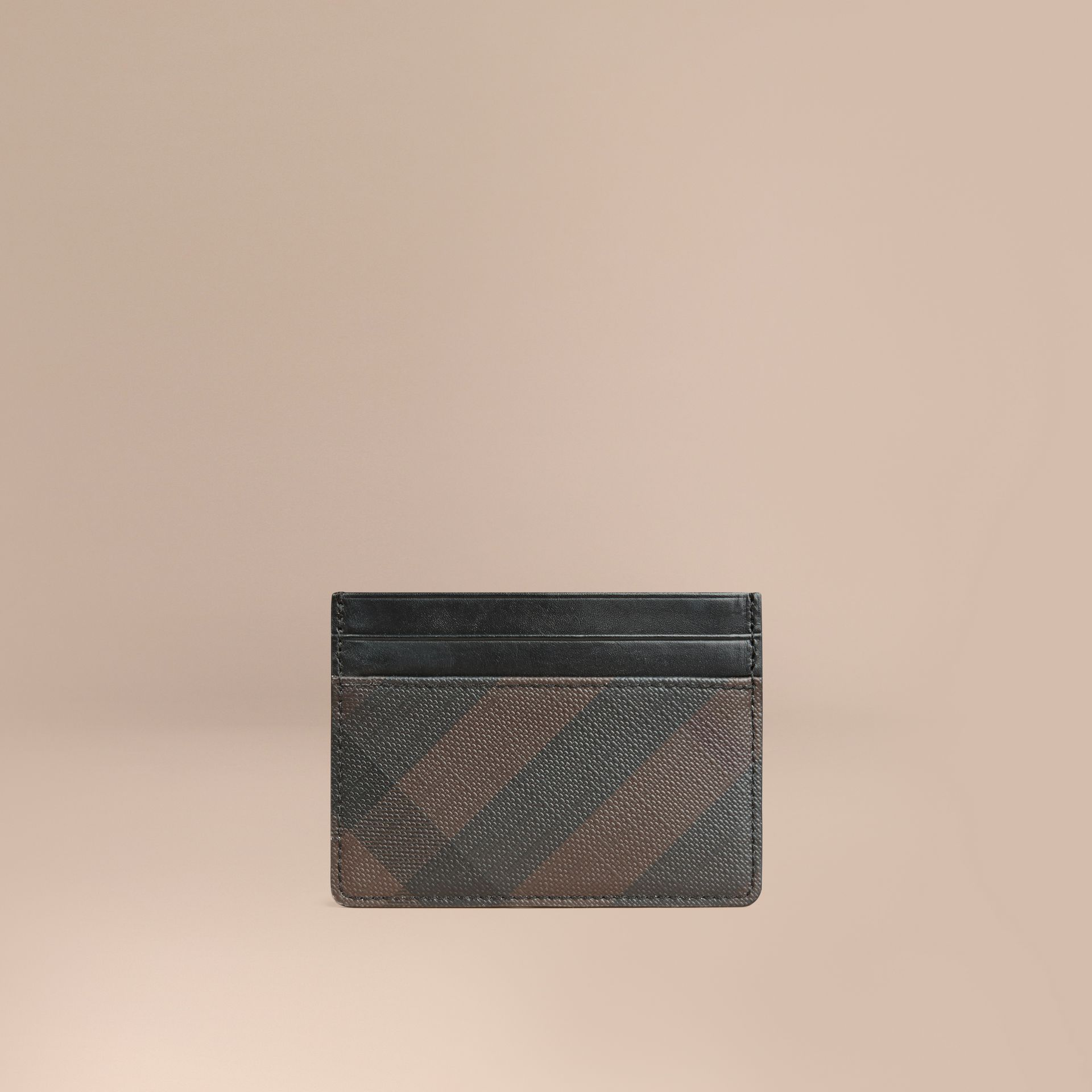 London Check Card Case in Chocolate/black - gallery image 1