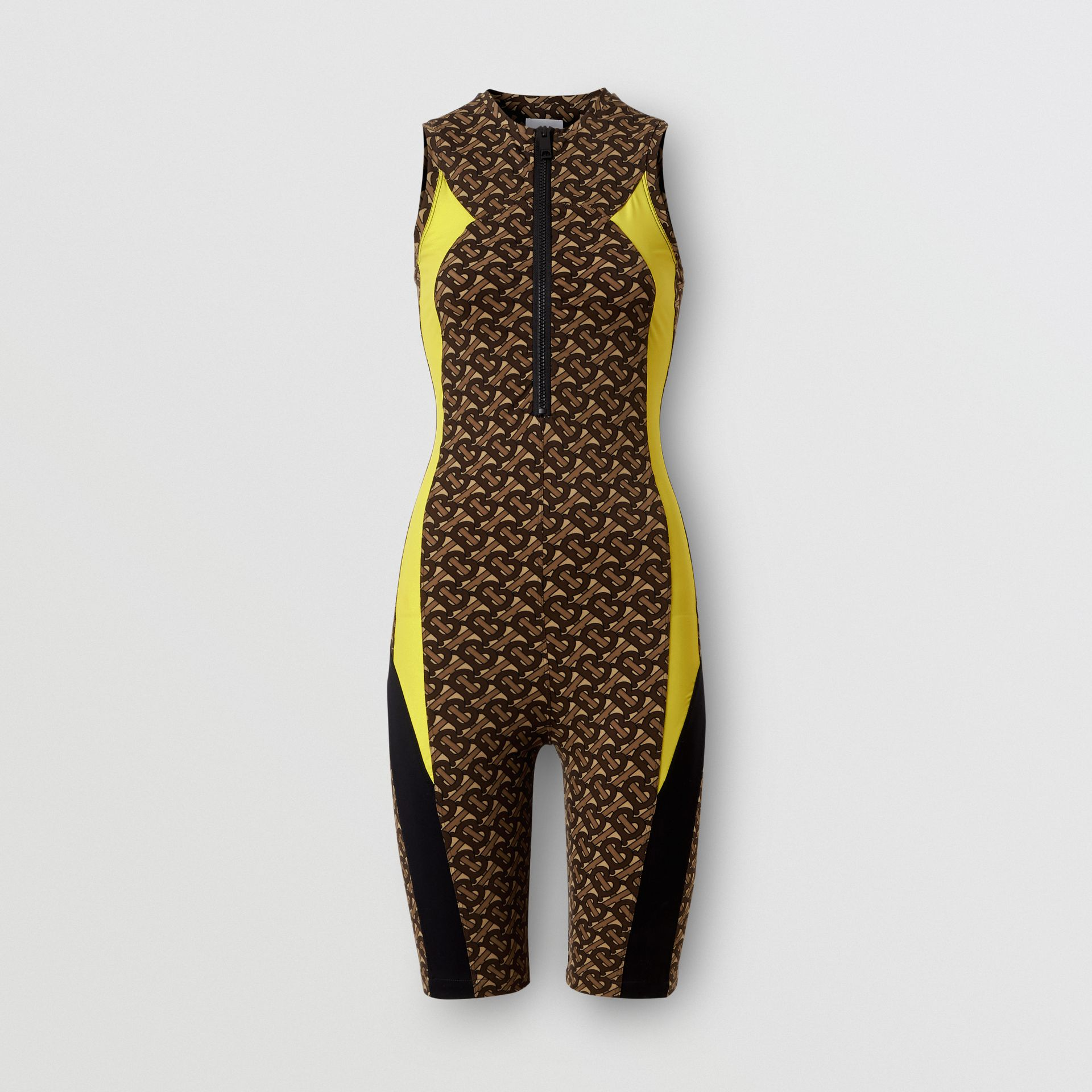 Colour Block Monogram Print Unitard in Bridle Brown - Women | Burberry United Kingdom - gallery image 3