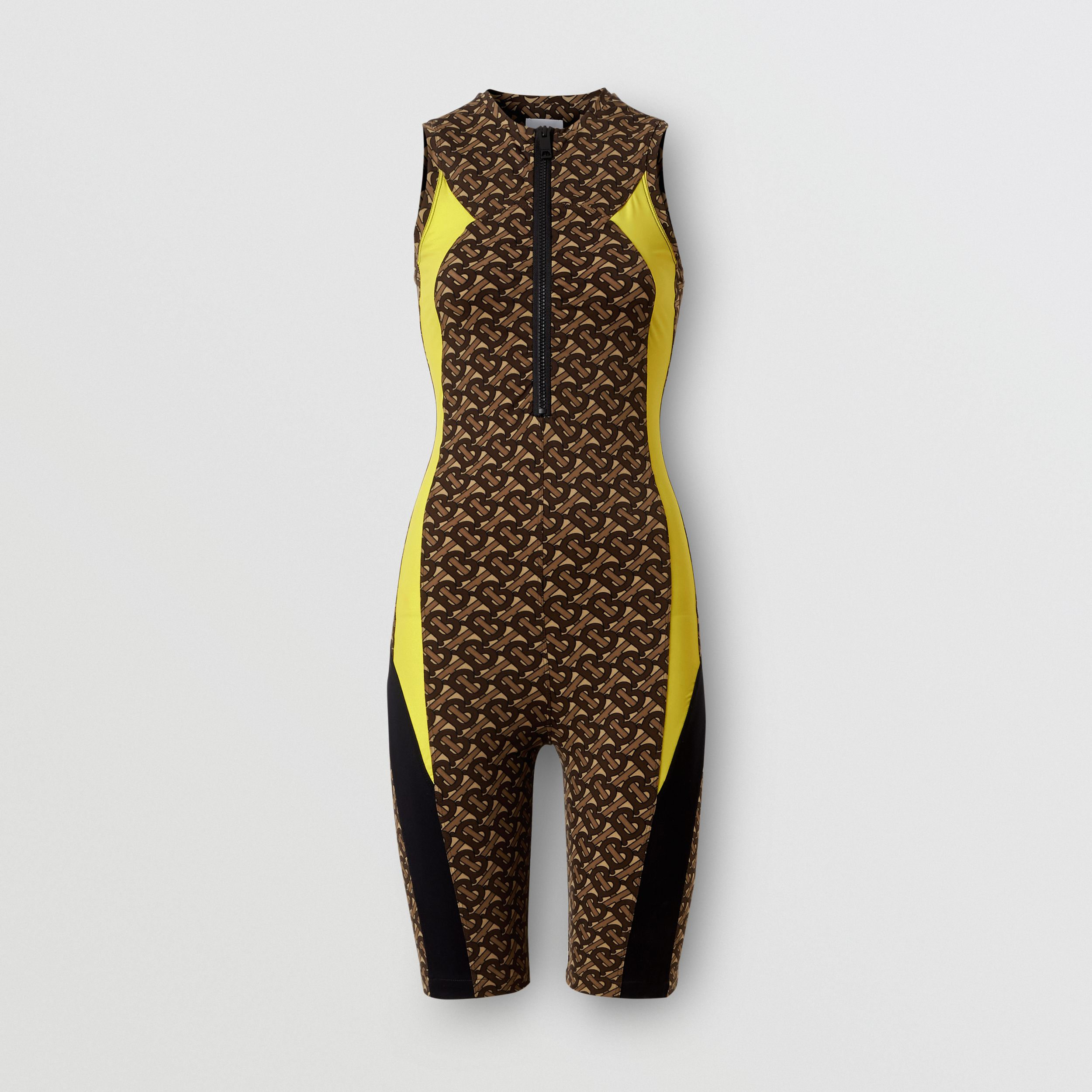Colour Block Monogram Print Unitard in Bridle Brown - Women | Burberry - 4