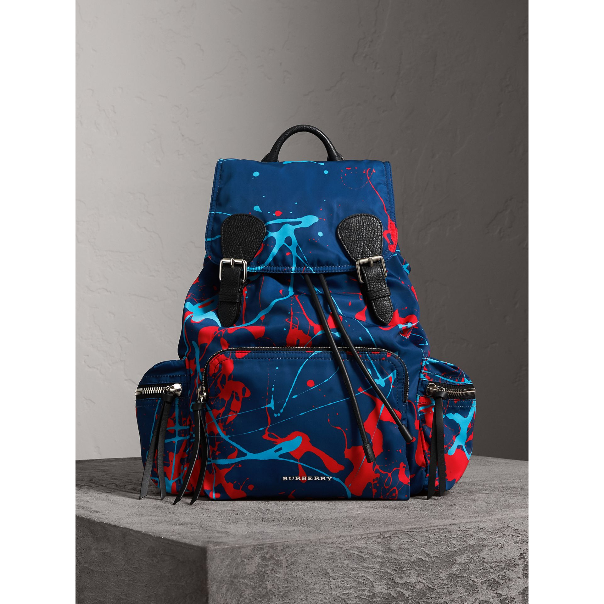 The Large Rucksack in Splash Print in Navy/orange | Burberry - gallery image 5