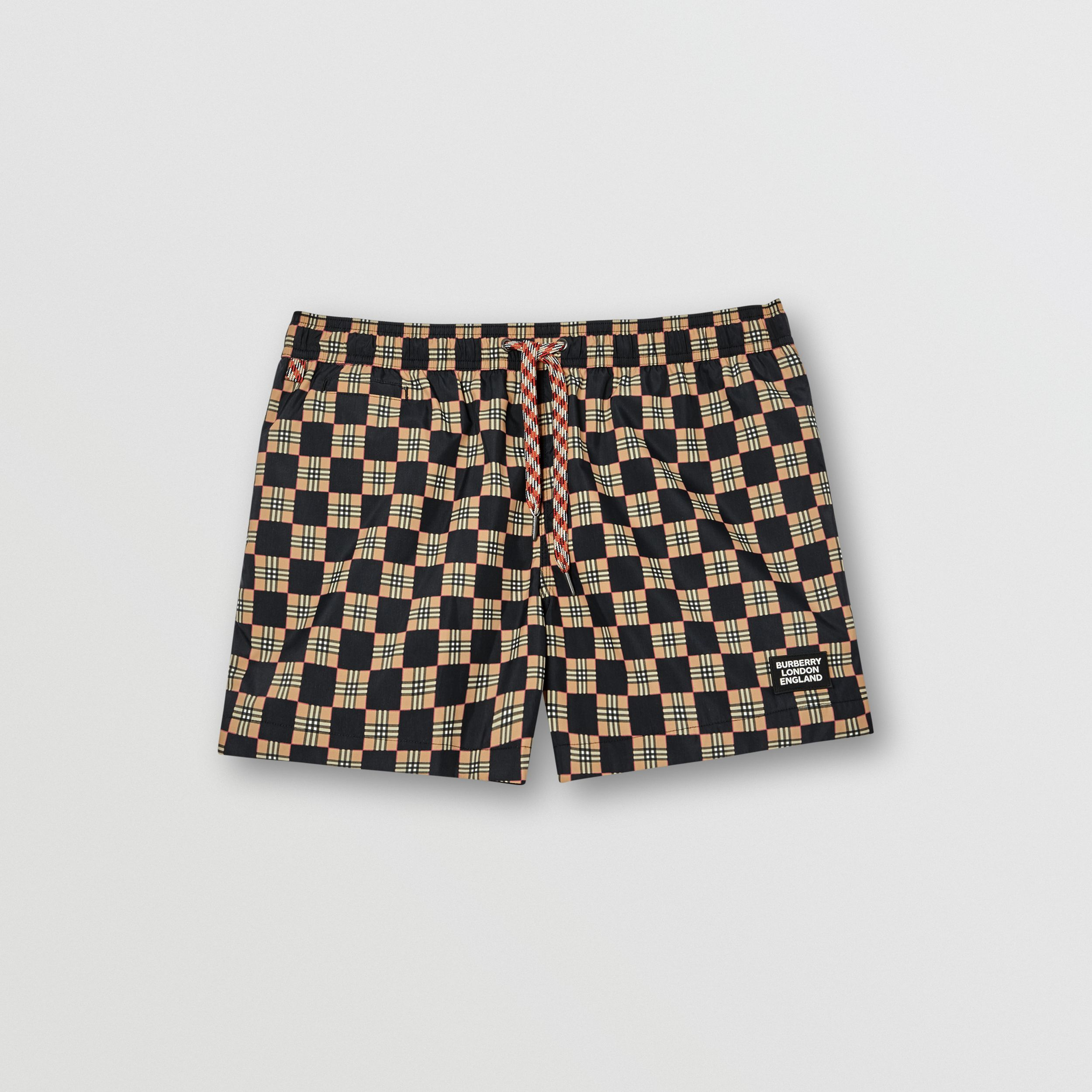 Chequer Print Drawcord Swim Shorts in Archive Beige - Men | Burberry - 3